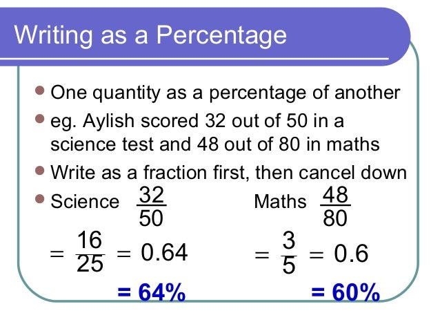 how to find what percentage one number is of another