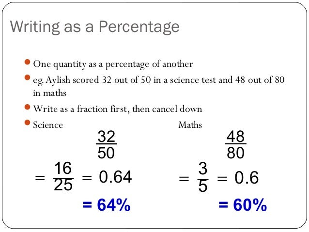 19 Writing As A Percentage