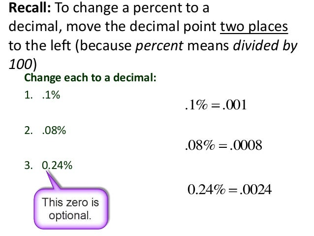 how to change a percent to a decimal number