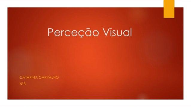 Perceção Visual  CATARINA CARVALHO  Nª3
