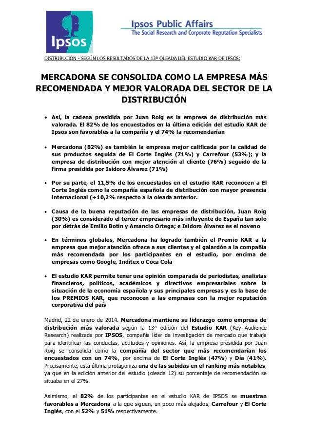 DISTRIBUCIÓN - SEGÚN LOS RESULTADOS DE LA 13ª OLEADA DEL ESTUDIO KAR DE IPSOS:  MERCADONA SE CONSOLIDA COMO LA EMPRESA MÁS...