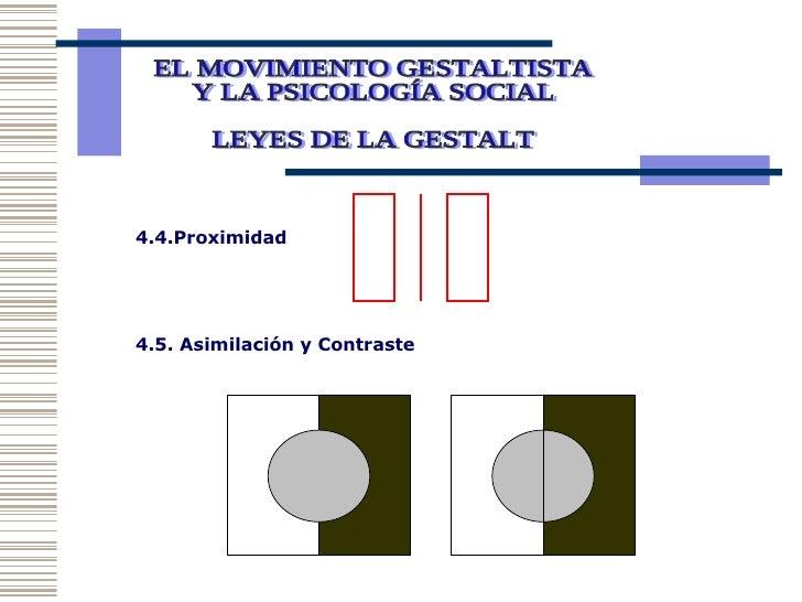 EL MOVIMIENTO GESTALTISTA Y LA PSICOLOGÍA SOCIAL  LEYES DE LA GESTALT 4.4.Proximidad 4.5. Asimilación y Contraste