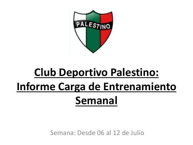 Club Deportivo Palestino: Informe Carga de Entrenamiento Semanal Semana: Desde 06 al 12 de Julio