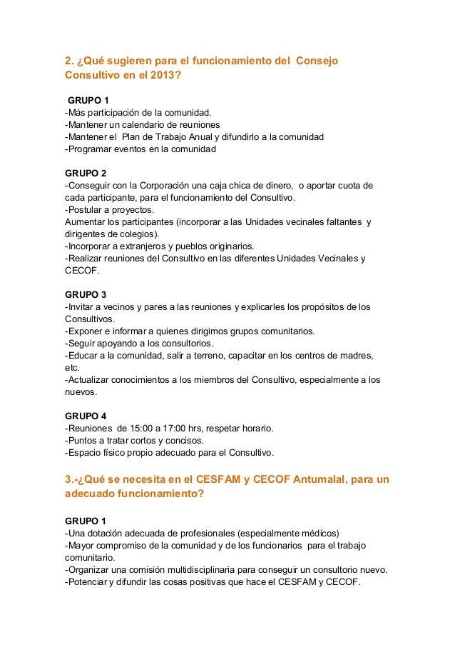 2. ¿Qué sugieren para el funcionamiento del ConsejoConsultivo en el 2013? GRUPO 1-Más participación de la comunidad.-Mante...