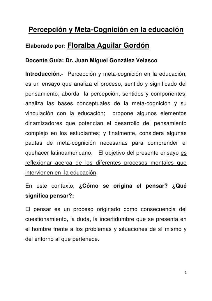 Percepción y Meta-Cognición en la educaciónElaborado por: Floralba     Aguilar GordónDocente Guía: Dr. Juan Miguel Gonzále...