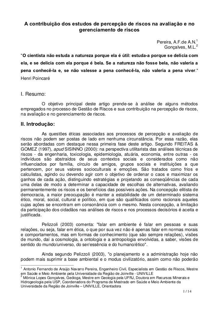 A contribuição dos estudos de percepção de riscos na avaliação e no                          gerenciamento de riscos      ...