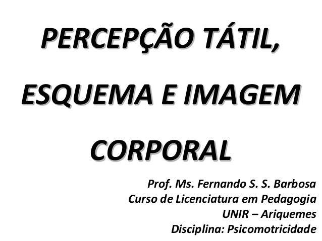 PERCEPÇÃO TÁTIL, ESQUEMA E IMAGEM CORPORAL Prof. Ms. Fernando S. S. Barbosa Curso de Licenciatura em Pedagogia UNIR – Ariq...