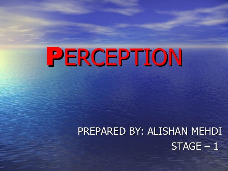 P ERCEPTION PREPARED BY: ALISHAN MEHDI STAGE – 1