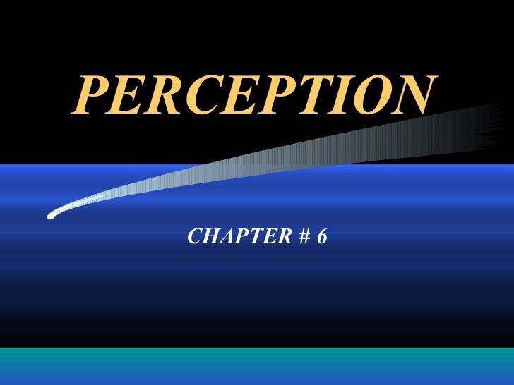 PERCEPTION   CHAPTER # 6