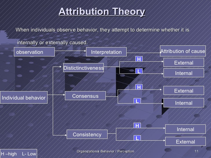 Attribution Theory      When individuals observe behavior, they attempt to determine whether it is          internally or ...