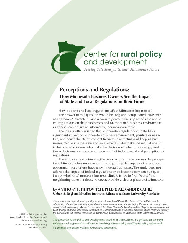 Perceptions and Regulations:                                           How Minnesota Business Owners See the Impact       ...