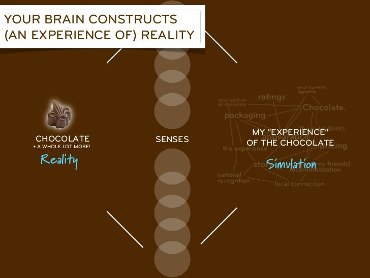 """YOUR BRAIN CONSTRUCTS(AN EXPERIENCE OF) REALITY                                   MY """"EXPERIENCE""""    CHOCOLATE            ..."""