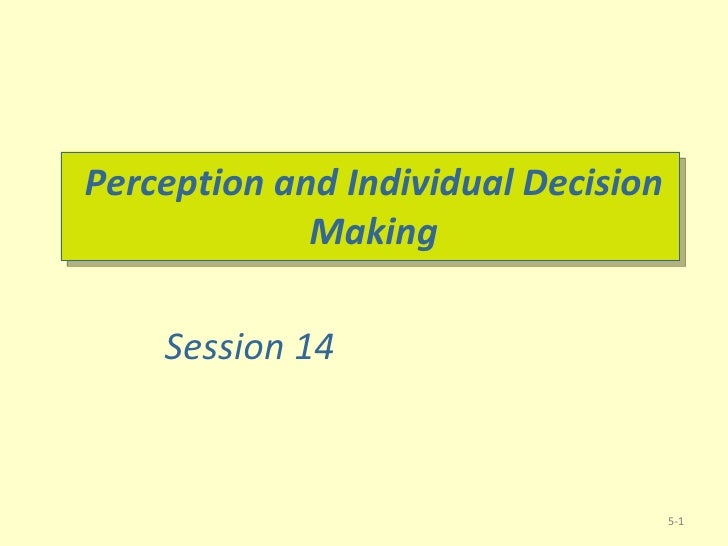 Perception and Individual Decision Making 5- Session 14