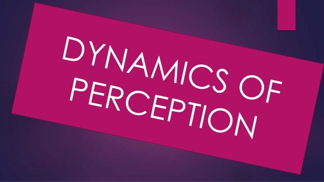 Dynamics Of Perception Perception is a result of two types of inputs: Physical stimuli and Past experience. The combine fa...