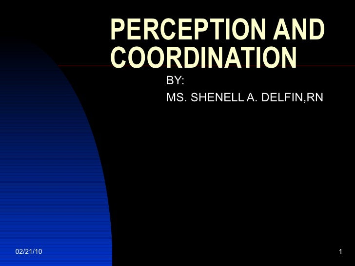 PERCEPTION AND COORDINATION BY:  MS. SHENELL A. DELFIN,RN