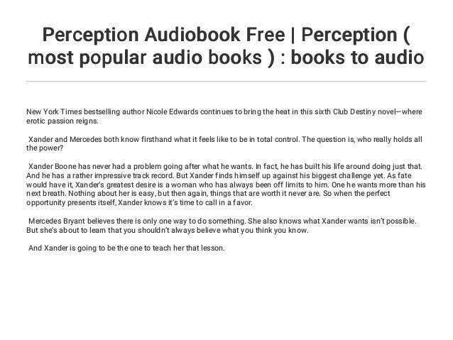 Perception Audiobook Free Perception Most Popular Audio Books