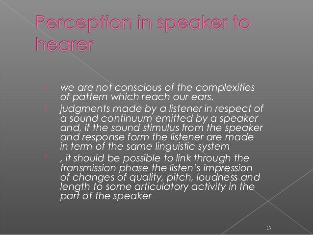  we are not conscious of the complexities of pattern which reach our ears.  judgments made by a listener in respect of a...