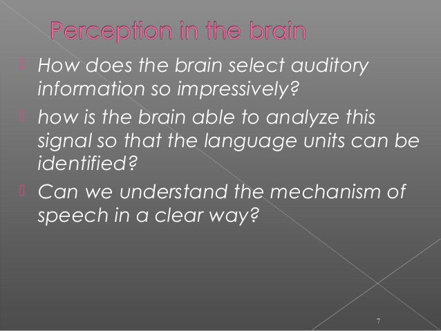  How does the brain select auditory information so impressively?  how is the brain able to analyze this signal so that t...