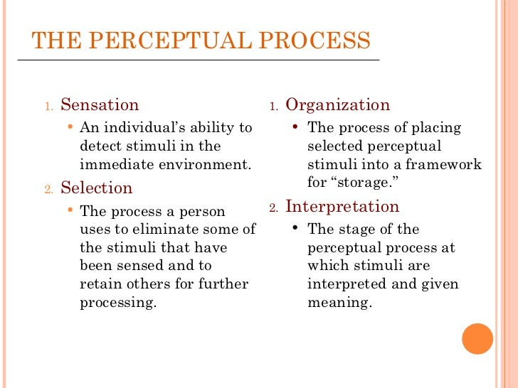 perception process Perception is the process by which stimulation of the senses is translated into meaningful experience the understanding of this process has long been the topic of debate by philosophers.