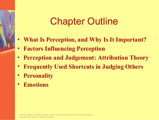 personality and perception in organizations Judging someone on the basis of one's perception of the group to which that  person belongs specific applications in organizations - employment interview.