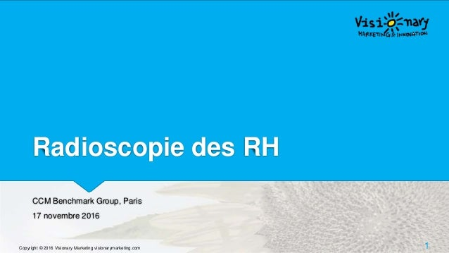 Radioscopie des RH CCM Benchmark Group, Paris 17 novembre 2016 Copyright © 2016 Visionary Marketing visionarymarketing.com...