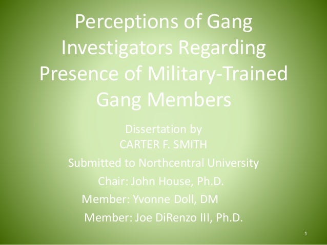 Perceptions of Gang Investigators Regarding Presence of Military-Trained Gang Members Dissertation by CARTER F. SMITH Subm...
