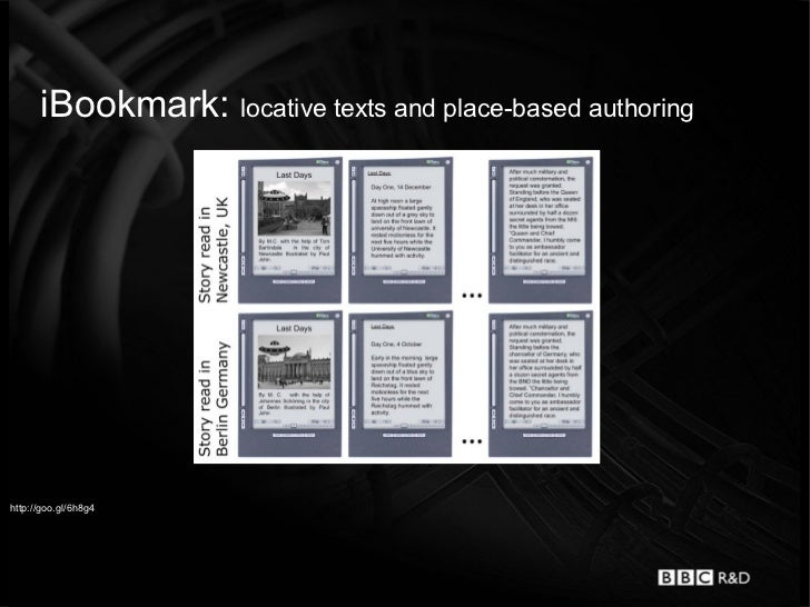 iBookmark: locative texts and place-based authoringhttp://goo.gl/6h8g4