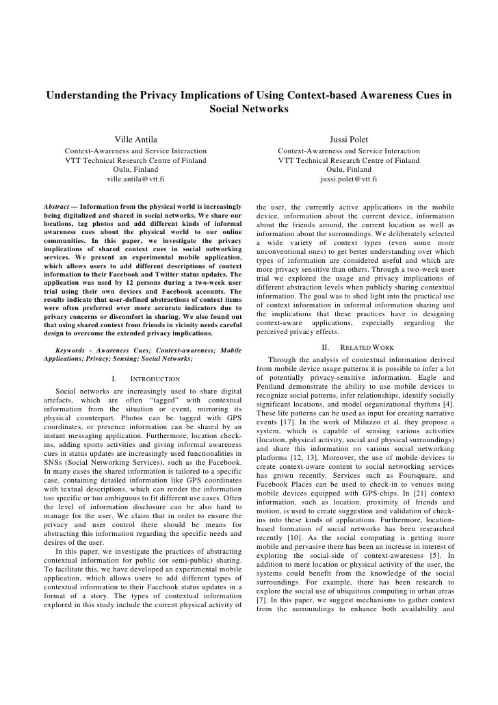 Understanding the Privacy Implications of Using Context-based Awareness Cues in                                Social Netw...