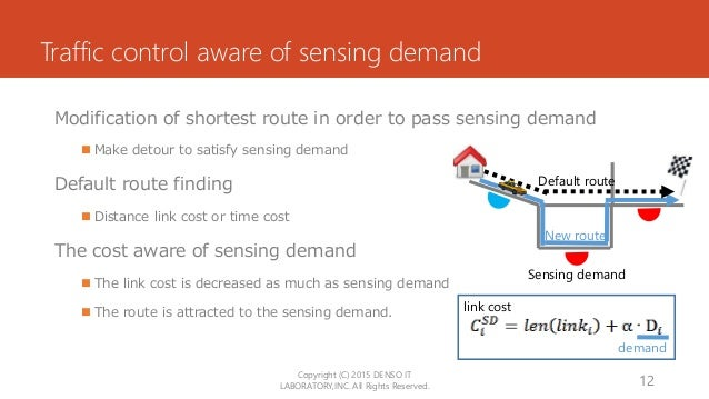 Traffic control aware of sensing demand Modification of shortest route in order to pass sensing demand  Make detour to sa...