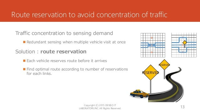 Route reservation to avoid concentration of traffic Traffic concentration to sensing demand  Redundant sensing when multi...