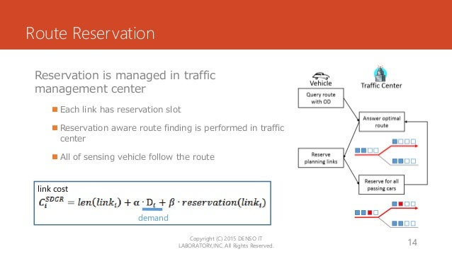 Route Reservation Reservation is managed in traffic management center  Each link has reservation slot  Reservation aware...
