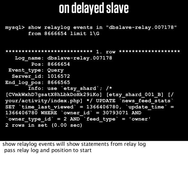 BSlaveAfterDelayedSlaveDataIsRestored....1)stopmysqlonAandslave2)copydatafilestoAAmaster.info should be pointing to the rig...