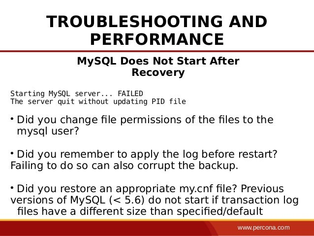 The best: the server quit without updating pid file