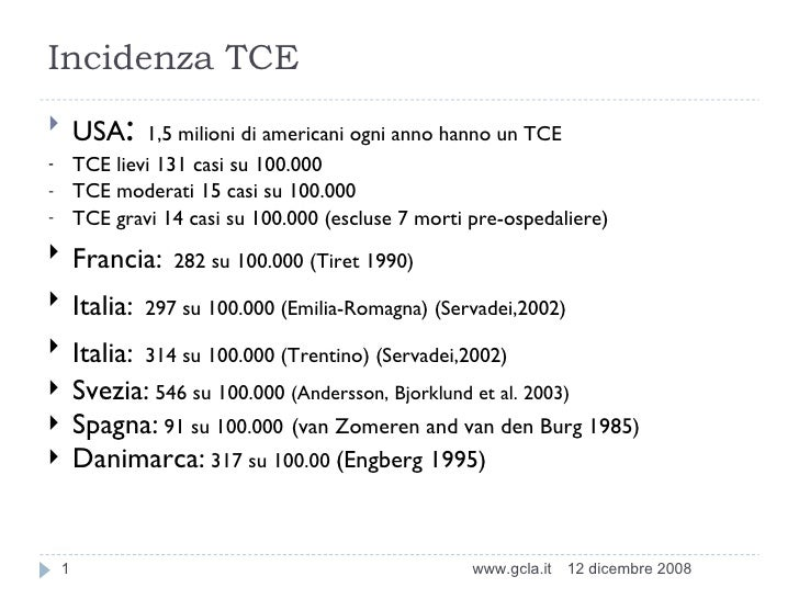 Incidenza TCE <ul><li>USA :  1,5 milioni di americani ogni anno hanno un TCE </li></ul><ul><li>TCE  lievi 131 casi su 100....