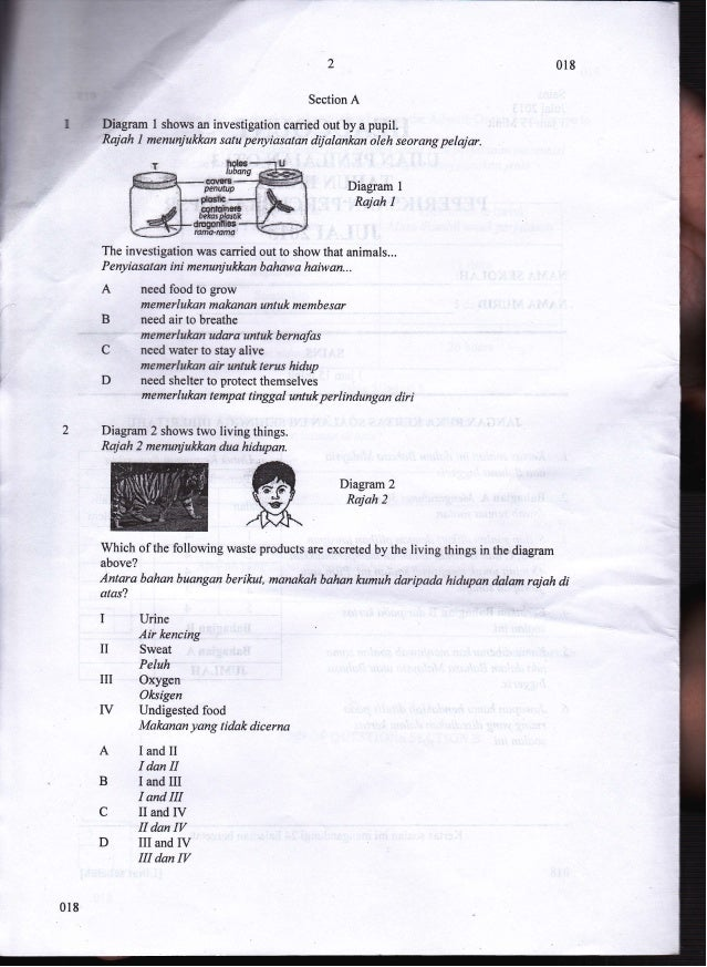 2 Section A Djagram I shows an investigation camied out by a pupil. Rajah 1 menunjukkan satu penyiasotan dijalankan oleh s...