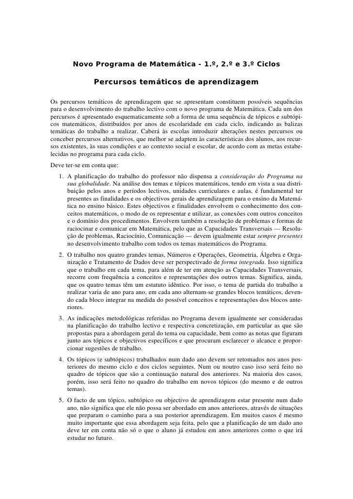 Novo Programa de Matemática - 1.º, 2.º e 3.º Ciclos                Percursos temáticos de aprendizagemOs percursos temátic...