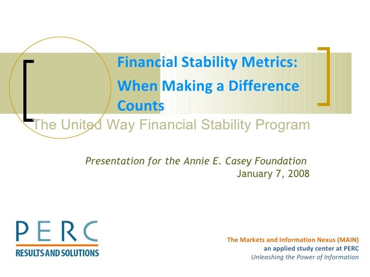 Financial Stability Metrics:  When Making a Difference Counts The United Way Financial Stability Program  Presentation for...