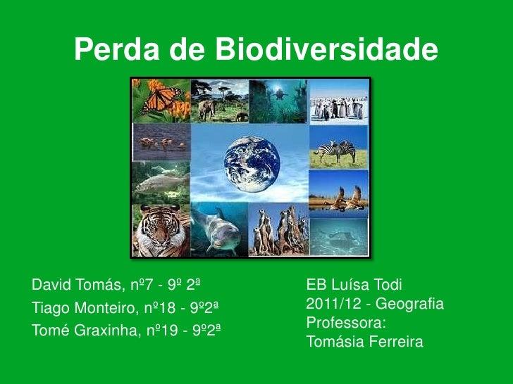 Perda de BiodiversidadeDavid Tomás, nº7 - 9º 2ª      EB Luísa TodiTiago Monteiro, nº18 - 9º2ª   2011/12 - GeografiaTomé Gr...