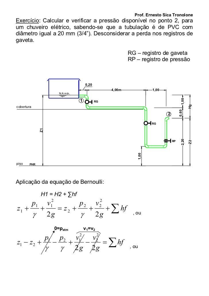 Prof. Ernesto Sica TronoloneExercício: Calcular e verificar a pressão disponível no ponto 2, paraum chuveiro elétrico, sab...