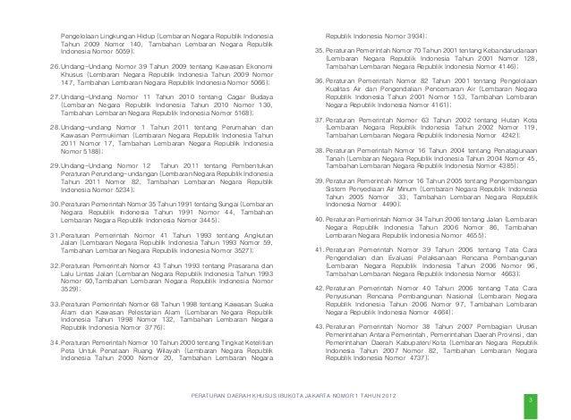 PERATURAN DAERAH KHUSUS IBUKOTA JAKARTA NOMOR 1 TAHUN 2012 menunjang kegiatan budi daya dan menunjang pariwisata. Kawasan ...
