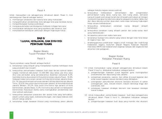PERATURAN DAERAH KHUSUS IBUKOTA JAKARTA NOMOR 1 TAHUN 2012 Pasal 12 (1) Strategi untuk melaksanakan kebijakan sebagaimana ...