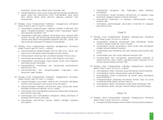 PERATURAN DAERAH KHUSUS IBUKOTA JAKARTA NOMOR 1 TAHUN 2012 Pasal 20 (1) Ketentuan lebih lanjut mengenai pusat kegiatan seb...