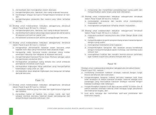 PERATURAN DAERAH KHUSUS IBUKOTA JAKARTA NOMOR 1 TAHUN 2012 (8) Rencana pengembangan lokasi fasilitas parkir perpindahan mo...