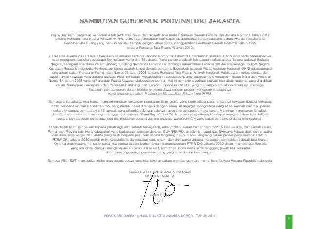 PERATURAN DAERAH KHUSUS IBUKOTA JAKARTA NOMOR 1 TAHUN 2012 v Bagian Keempat  Rencana Tata Ruang Wilayah Kota Administras...