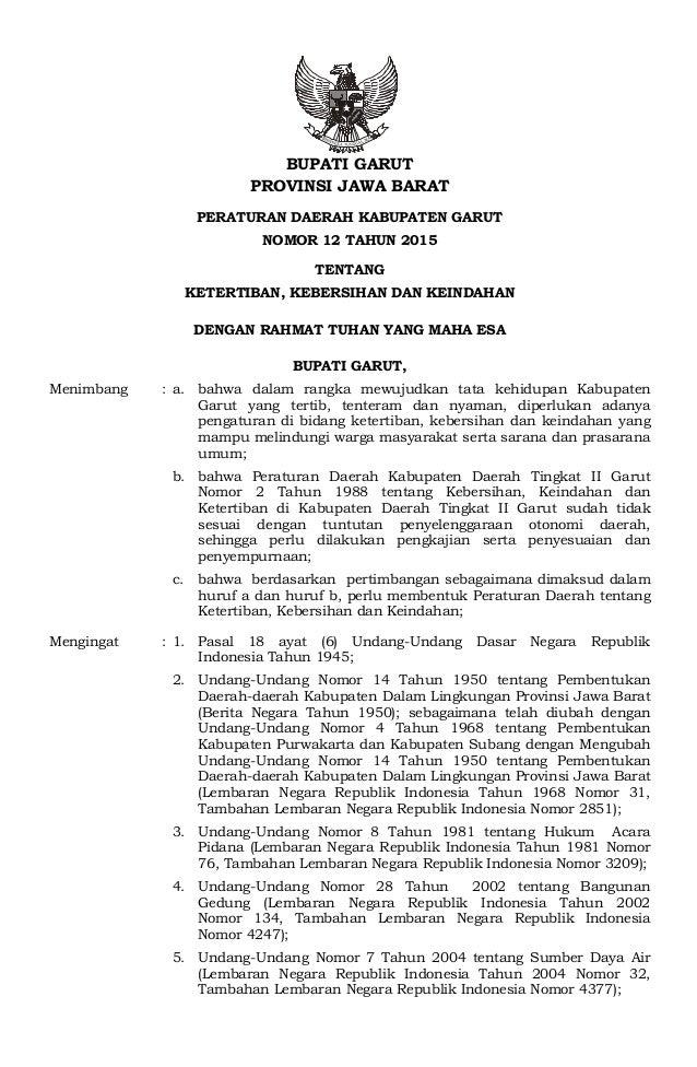 Perda No 12 Th 2015 Ttg Ketertiban Kebersihan Dan Keindahan