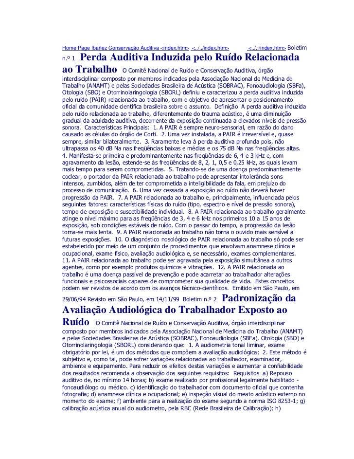 Home Page Ibañez Conservação Auditiva <index.htm> <../../index.htm>           <../../index.htm>    Perda Auditiva Induzida...