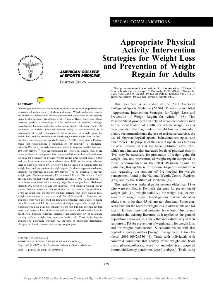 ACSM POSITION STAND                                                                                       SPECIAL COMMUNIC...