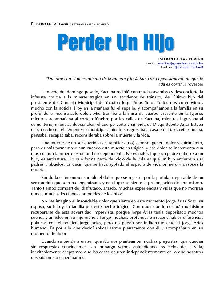 EL DEDO EN LA LLAGA | ESTEBAN FARFÁN ROMERO              P e rd e r Un H i j o                                            ...