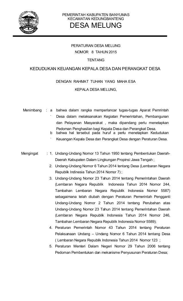 PEMERINTAH KABUPATEN BANYUMAS KECAMATAN KEDUNGBANTENG DESA MELUNG PERATURAN DESA MELUNG NOMOR 8 TAHUN 2015 TENTANG KEDUDUK...