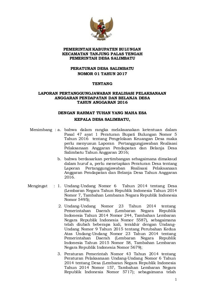 Perdes No 01 Thn 2017 Laporan Pertanggungjawaban Realisasi Pelaksana